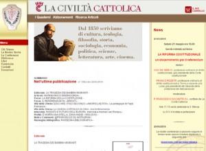"""Riforma costituzionale: """"Civiltà cattolica"""" dice """"sì"""". E avvalora  i Cattolici  del """"no"""""""