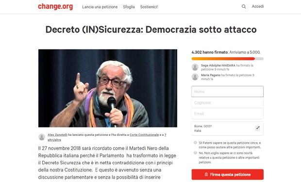 Decreto Sicurezza: p. Zanotelli chiama alla resistenza e lancia una petizione