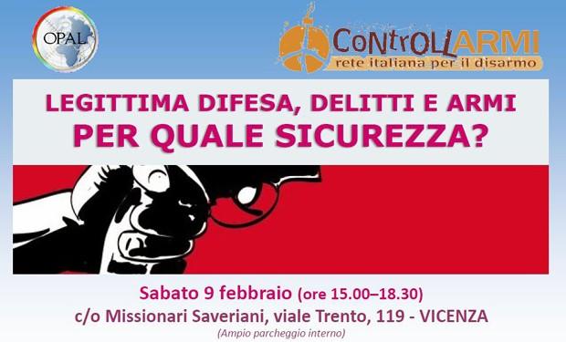 Quale sicurezza? A Vicenza, evento su armi e legittima difesa