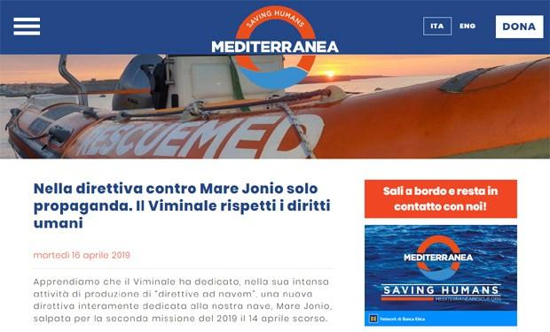 Mediterranea replica a Salvini: il ministro non violi le norme sui diritti umani