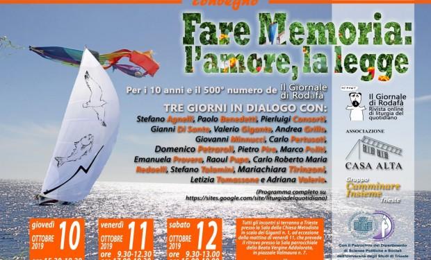 """Convegno """"Fare memoria: l'amore, la legge"""" – Trieste, 10/12 ottobre 2019"""