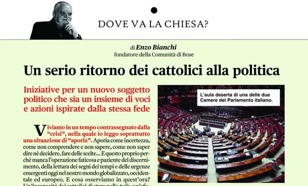 """L'afonia dei cattolici nella polis: la proposta di Enzo Bianchi su """"Vita Pastorale"""""""