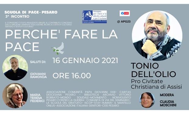 Scuola di Pace di Pesaro: un incontro online con Tonio Dell'Olio