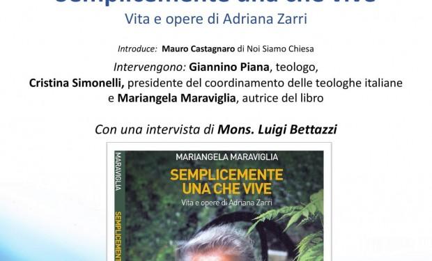 Presentazione del libro su Adriana Zarri il 20 marzo su YouTube